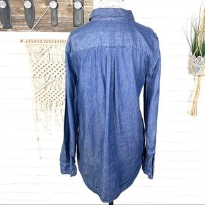 LOFT Tops - Loft bejeweled chambray popover shirt medium